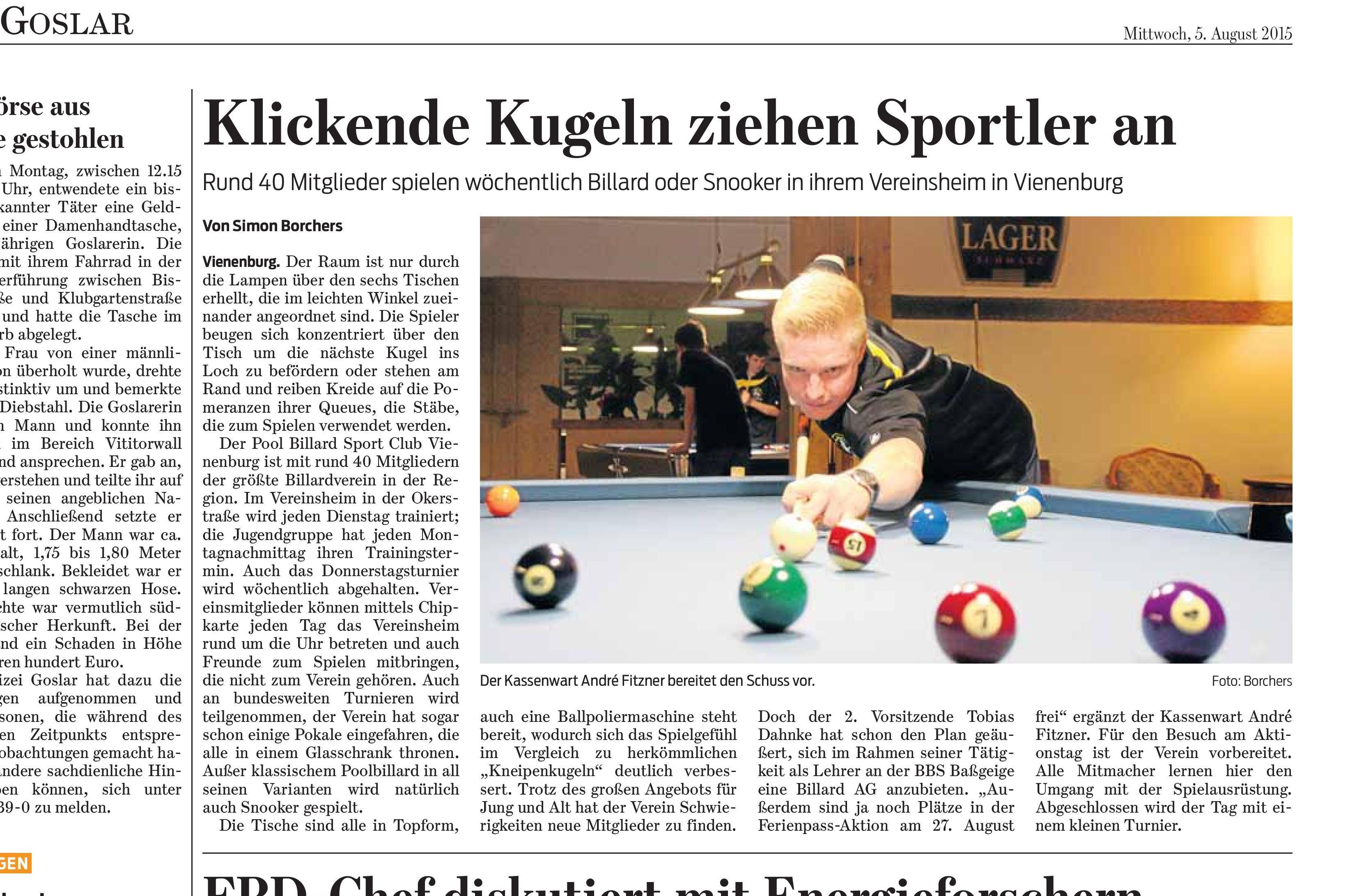 Artikel in der Goslarschen Zeitung vom 05.08.2015